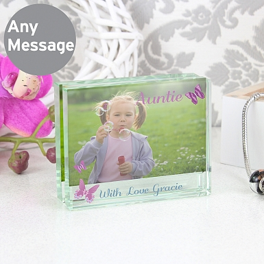 Personalised Butterfly Crystal Photo Block Frame