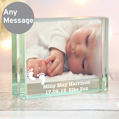 Personalised Footprints Crystal Photo Block Frame