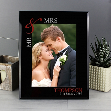 Personalised Ruby Couple's 5x7 Black Glass Photo Frame