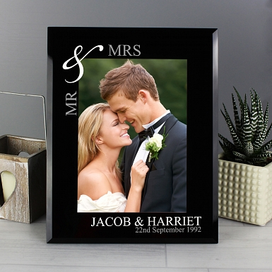 Personalised Silver Couple's 5x7 Black Glass Photo Frame