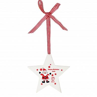 Personalised Christmas Santa Design Wooden Star Shaped Decoration