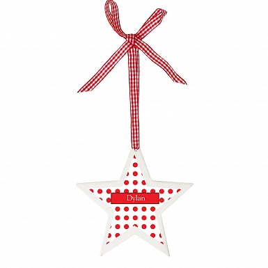 Personalised Polka Dot Design Wooden Star Shaped Decoration