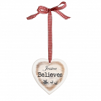 Personalised I Believe Wooden Heart Shaped Decoration