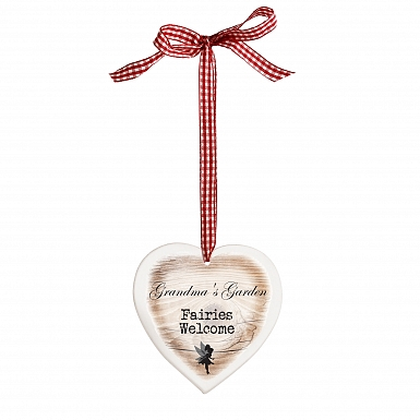 Personalised Fairies Welcome Wooden Heart Shaped Decoration