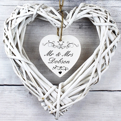 Personalised Ornate Swirl Wicker Heart Decoration