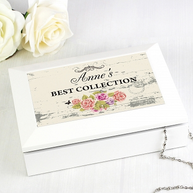 Personalised Shabby chick White Jewellery Box