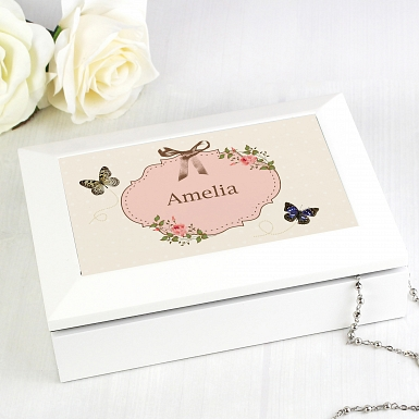 Personalised Delicate Butterfly White Jewellery Box