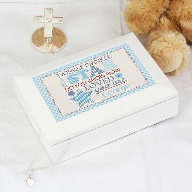 Personalised Twinkle Boys White Keepsake Box