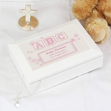 Personalised Pink ABC White Wooden Keepsake Box
