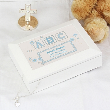 Personalised Blue ABC White Wooden Keepsake Box