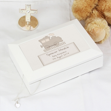 Personalised Stitched Train White Wooden Keepsake Box