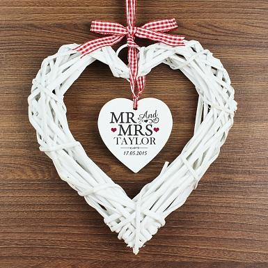 Personalised Mr & Mrs Wicker Heart Decoration UK [United Kingdom]
