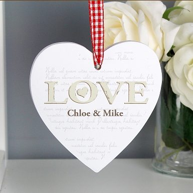 Personalised LOVE Wooden Heart Decoration