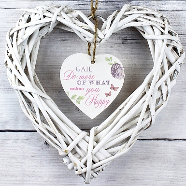 Personalised Secret Garden Wicker Heart Decoration