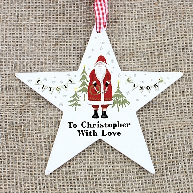 Personalised Father Christmas Wooden Star Decoration
