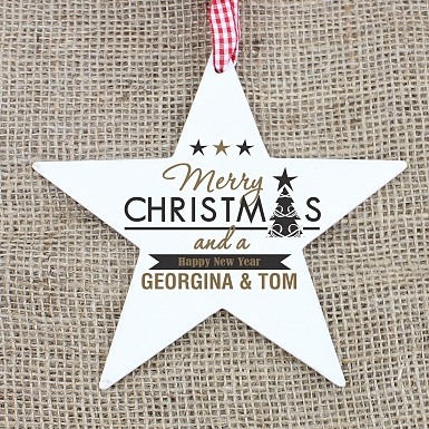Personalised Merry Christmas And A Happy New Year Wooden Star Decoration