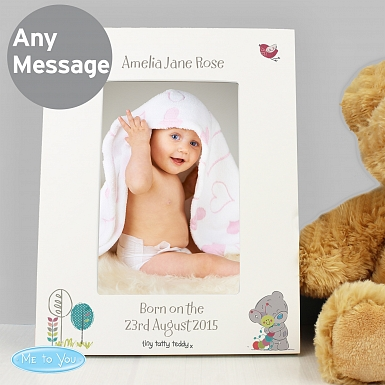Personalised Tiny Tatty Teddy Cuddle Bug White 6x4 Frame