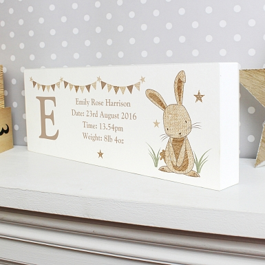 Personalised Hessian Rabbit Mantel Block
