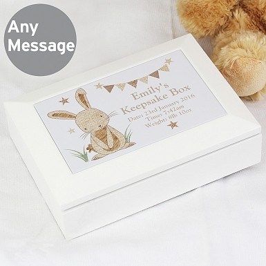 Personalised Hessian Rabbit Wooden Jewellery Box