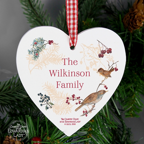 Personalised Country Diary Midwinter Wooden Heart Decoration