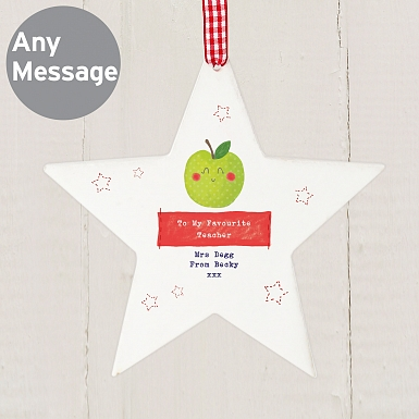 Personalised Happy Apple Wooden Star Decoration
