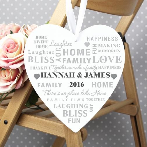 Personalised Family Typography Large Wooden Heart Decoration UK [United Kingdom]