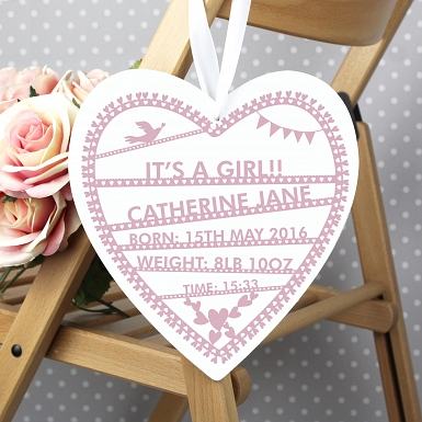 Personalised Pink Papercut Large Wooden Heart Decoration UK [United Kingdom]