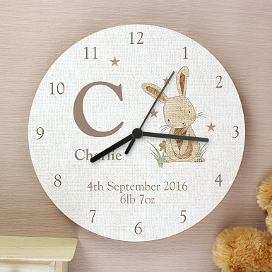 Personalised Hessian Rabbit Shabby chick Large Wooden Clock