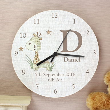 Personalised Hessian Giraffe Shabby chick Large Wooden Clock
