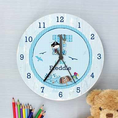 Personalised Pirate Shabby chick Large Wooden Clock