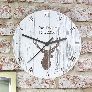 Personalised Highland Stag Shabby chick Wooden Clock