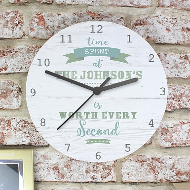 Personalised Time Spent Shabby chick Large Wooden Clock