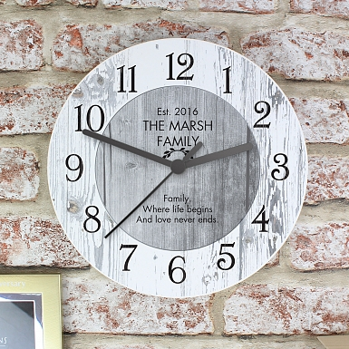 Personalised Any Message Shabby chick Large Wooden Clock