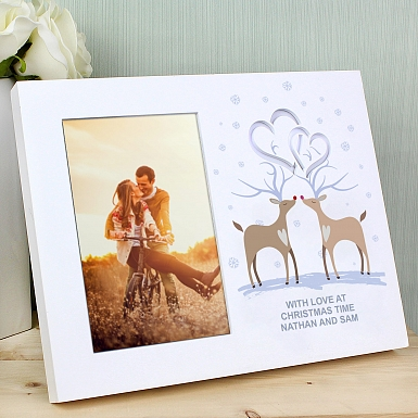 Personalised Reindeer Couple Hearts 6x4 Light Up Frame