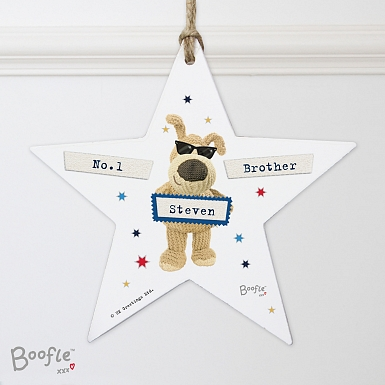 Personalised Boofle Stars Wooden Star Decoration