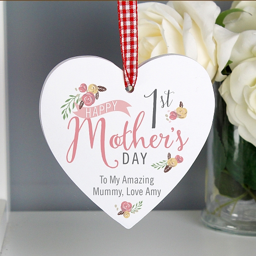 Personalised Floral Bouquet 1st Mother's Day Wooden Heart Decoration
