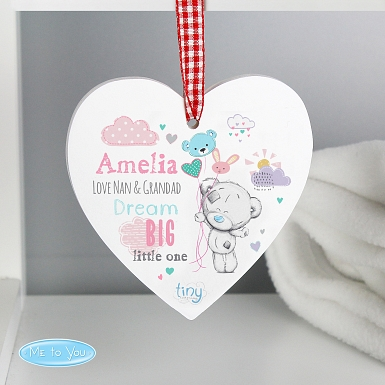 Personalised Tiny Tatty Teddy Dream Big Pink Wooden Heart Decoration