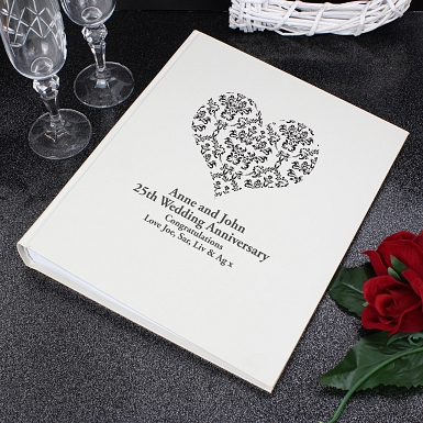 Personalised Black Damask Heart Traditional Album