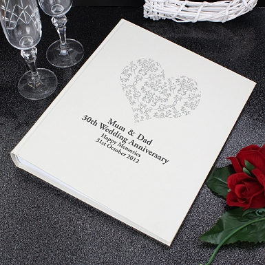 Personalised Silver Damask Heart Traditional Album