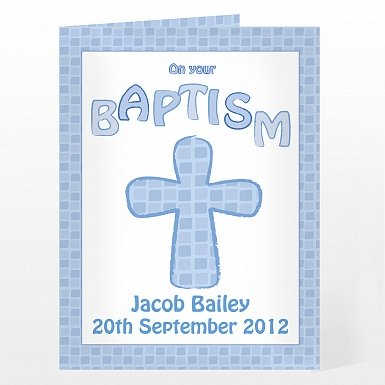 Personalised Baptism Card Blue