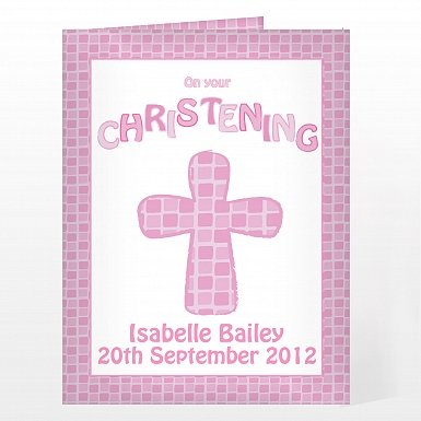 Personalised Christening Cross Card-Pink