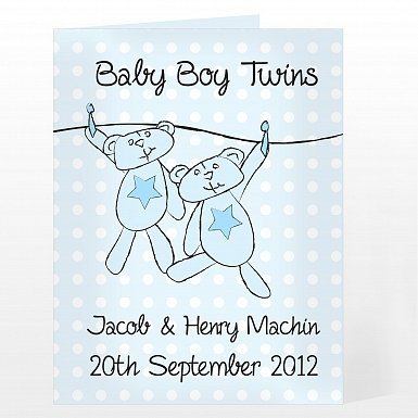 Personalised Twin Boys Washing Line Card