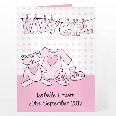 Personalised Baby Girl Letter Wash Line Card