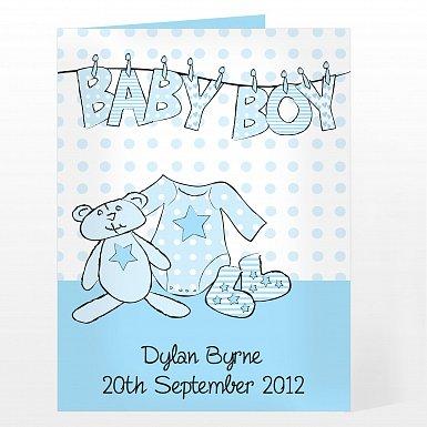 Personalised Baby Boy Washing Line Card
