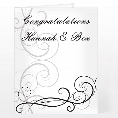 Personalised Black Swirl Wedding Card