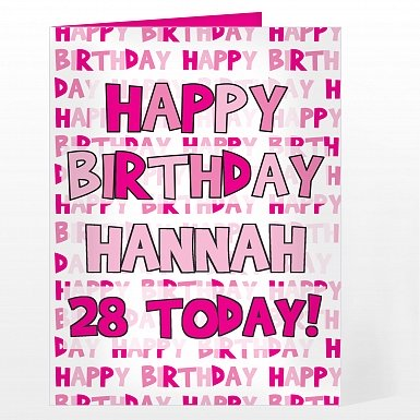 Personalised Happy Birthday Pink Text Card