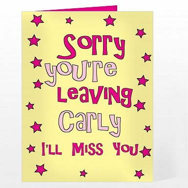 Personalised Sorry You're Leaving Card - Pink Stars