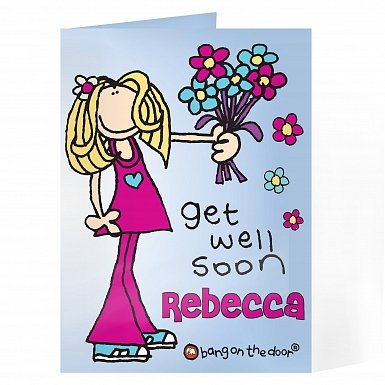 Personalised Bang on the Door Get Well Soon Card
