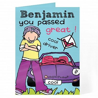 Personalised Bang on the Door Male Driving Test Card