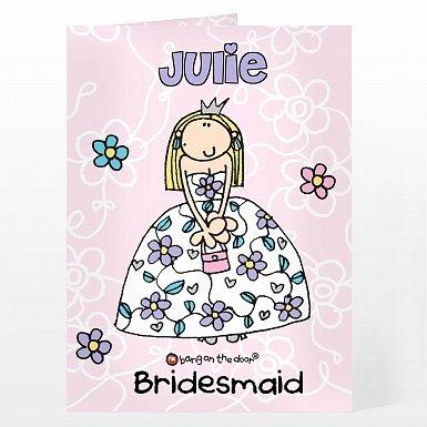 Personalised Bang On The Door Wedding Girl Card